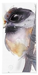 Beach Sheet featuring the painting Blackcapped Chickadee by Dawn Derman