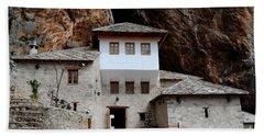 Blagaj Sufi Muslim Dervish Stone Monastery Structure Bosnia Herzegovina Beach Towel