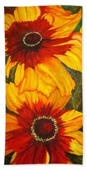 Beach Towel featuring the painting Blanket Flower by Lil Taylor