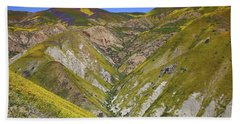 Blanket Of Wildflowers Cover The Temblor Range At Carrizo Plain National Monument Beach Towel