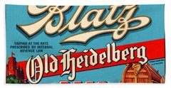 Blatz Old Heidelberg Vintage Beer Label Restored Beach Towel