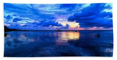 Blazing Blue Sunset Beach Towel
