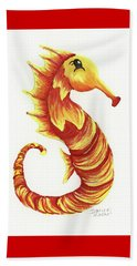 Beach Towel featuring the painting Blazing Seahorse by Darice Machel McGuire