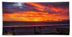 Blazing Sunset Over Malibu Beach Towel