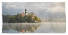 Bled Lake On A Beautiful Foggy Morning Beach Towel by IPics Photography