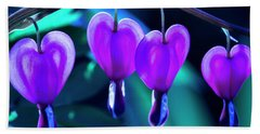 Bleeding Hearts In Moon Light Beach Towel by Skip Tribby