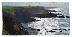 Blegberry Cliffs From Damehole Point Beach Towel by Richard Brookes