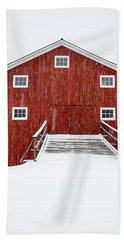 Blizzard At The Old Cow Barn Beach Sheet by Edward Fielding