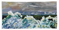 Beach Towel featuring the painting Blizzard Coming by Michael Helfen
