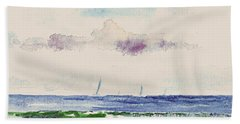 Beach Sheet featuring the painting Block Island Sound by Joan Hartenstein