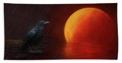 Blood Moon Crow Beach Towel
