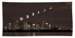 Blood Moon Lunar Eclipse Over Boston Massachusetts Beach Towel