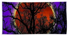 Beach Towel featuring the photograph Blood Moon Trees by Barbara Tristan