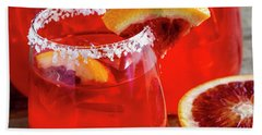 Beach Towel featuring the photograph Blood Orange Margaritas On The Rocks by Teri Virbickis