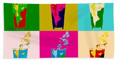 Bloody Mary Pop Art Panels Beach Towel by Dan Sproul