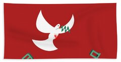 bloody peace Wounded dove symbol of peace  Beach Towel