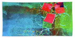 Beach Towel featuring the mixed media Bloom Abstract Collage by Nancy Merkle