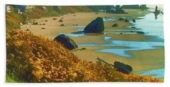 Blooming Bandon Watercolor Beach Towel by Wendy McKennon