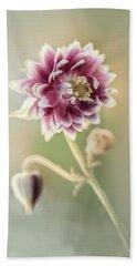 Blooming Columbine Flower Beach Sheet