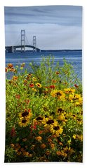 Blooming Flowers By The Bridge At The Straits Of Mackinac Beach Sheet
