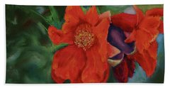 Blooming Poms Beach Towel by Marna Edwards Flavell