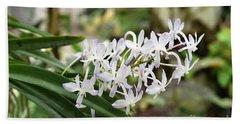 Blooming White Flower Spike Beach Towel