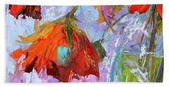 Blossom Dreams In A Vase Oil Painting, Floral Still Life Beach Towel