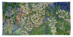 Blossoming Chestnut Branches Beach Towel