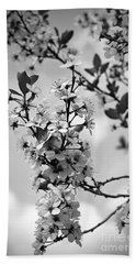 Blossoms In Black And White Beach Towel