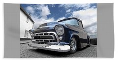 Blue 57 Stepside Chevy Beach Towel