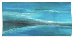 Blue Abstract Art In The Middle Of The Ocean Beach Towel by Saribelle Rodriguez