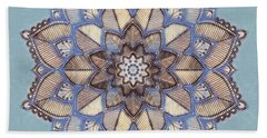 Blue And White Mandala Beach Towel