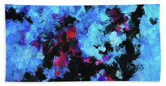 Blue And Black Abstract Wall Art Beach Sheet by Ayse Deniz