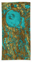 Blue And Gold Abstract Beach Towel