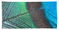 Blue And Green Feathers Beach Towel
