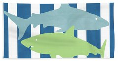 Blue And Green Sharks- Art By Linda Woods Beach Towel