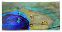 Beach Towel featuring the photograph Blue And Orange Water Drops by Angela Murdock
