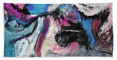 Beach Towel featuring the painting Blue And Pink Abstract Painting by Ayse Deniz