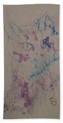 Blue And Purple Cat Beach Sheet