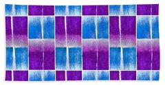 Blue And Purple Pattern Beach Towel