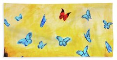 Blue And Red Butterflies Beach Towel by Haleh Mahbod