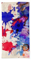 Blue And Red Color Splash Beach Towel