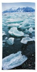 Blue And Turquoise Ice Jokulsarlon Glacier Lagoon Iceland Beach Sheet by Matthias Hauser