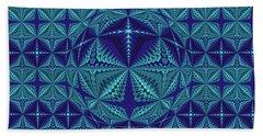 Blue And Turquoise Symmetrical Pattern, Kaleidoscope Beach Sheet
