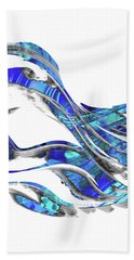 Blue And White Abstract Art - Wave 3 - Sharon Cummings Beach Towel