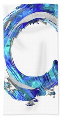 Blue And White Abstract - Swirling 1 - Sharon Cummings Beach Towel