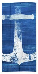 Beach Towel featuring the mixed media Blue And White Anchor- Art By Linda Woods by Linda Woods