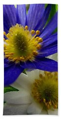 Blue And White Anemones Beach Sheet