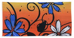 Blue And White Flowers Beach Towel