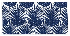 Blue And White  Palm Leaves 3 - Art By Linda Woods Beach Towel